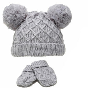 Grey Diamond Knitted Pom Hat & Mittens