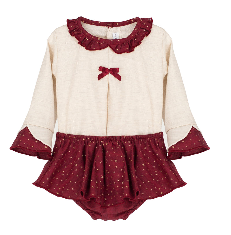 Ivory & Burgandy Blouse & Bloomers