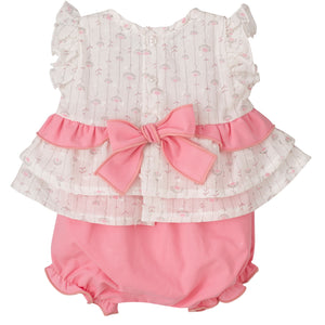 Pink Floral Blouse & Bloomer