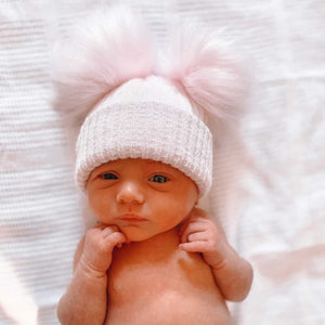 First Size Pink And Silver Ribbed Fur Double Pom Hat