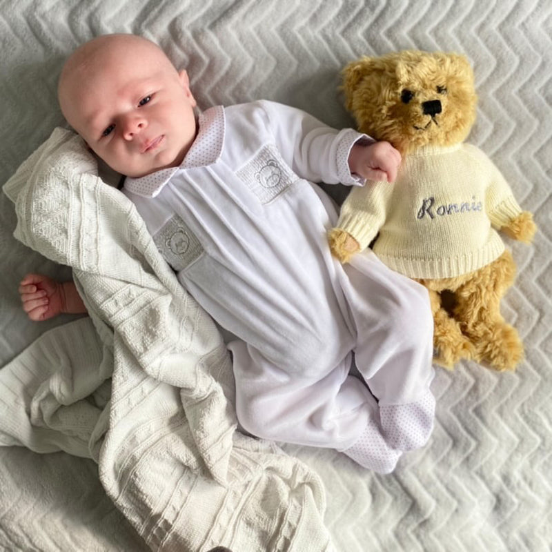 Unisex Velour Smocked Bear Sleepsuit