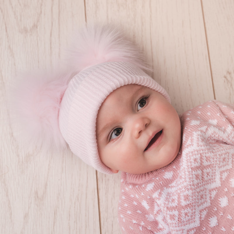 Second Size Pink Ribbed Faux Fur Double Pom Hat