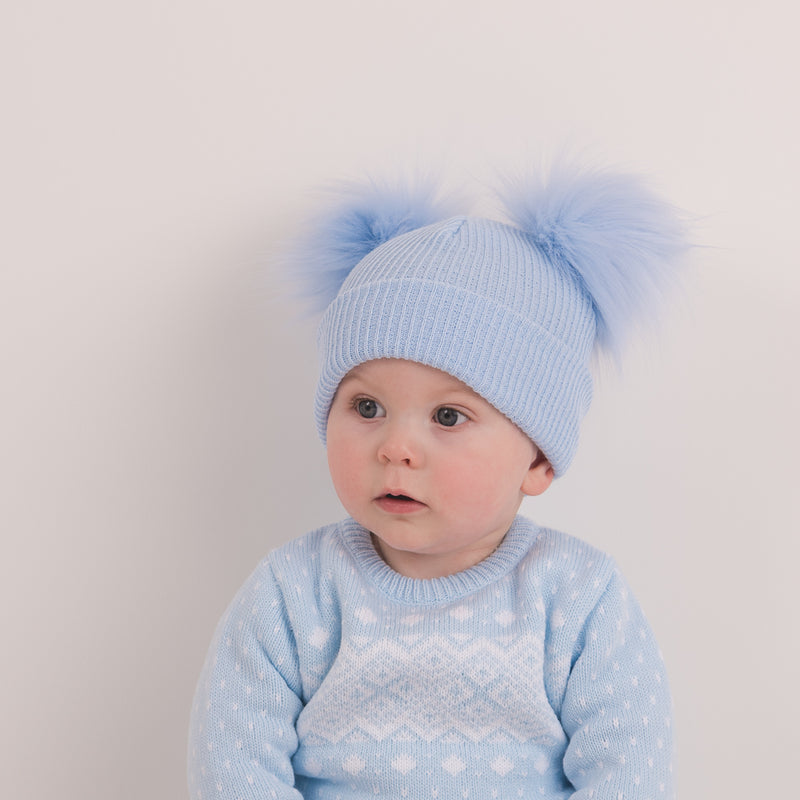 Second Size Blue Ribbed Faux Fur Double Pom Hat