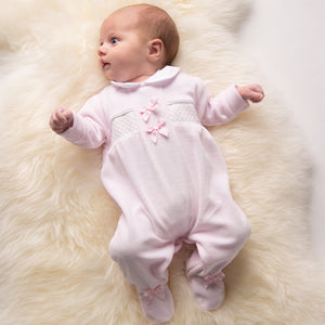 Pink Satin Bow Smocked Velour Sleepsuit