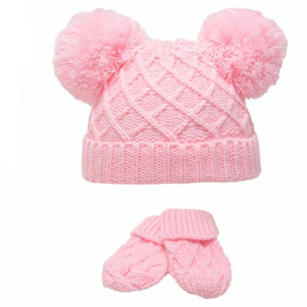 Pink Diamond Knitted Pom Hat & Mittens