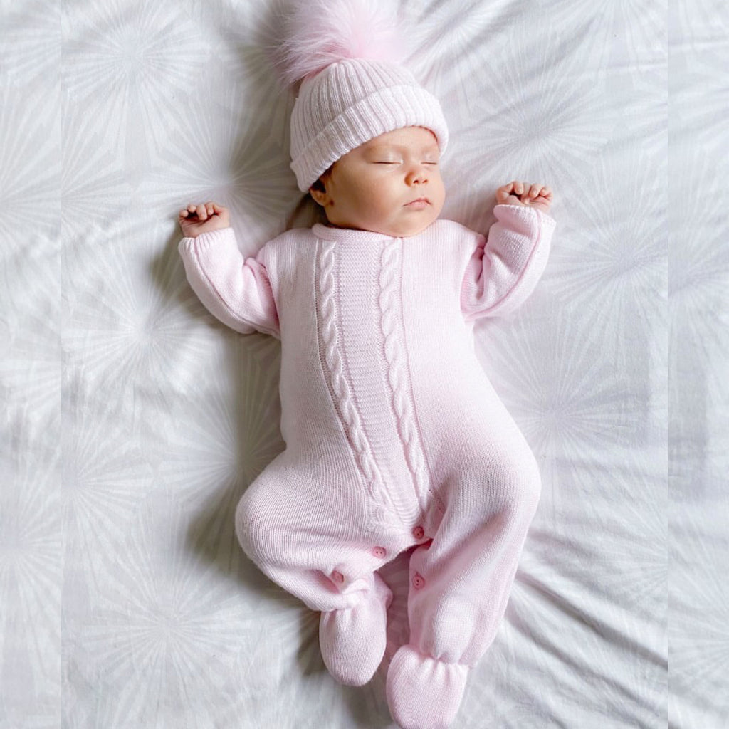 Pink Cable Knitted Onesie