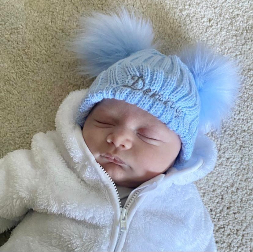 Personalised Name Sky Blue Double Pom Hat