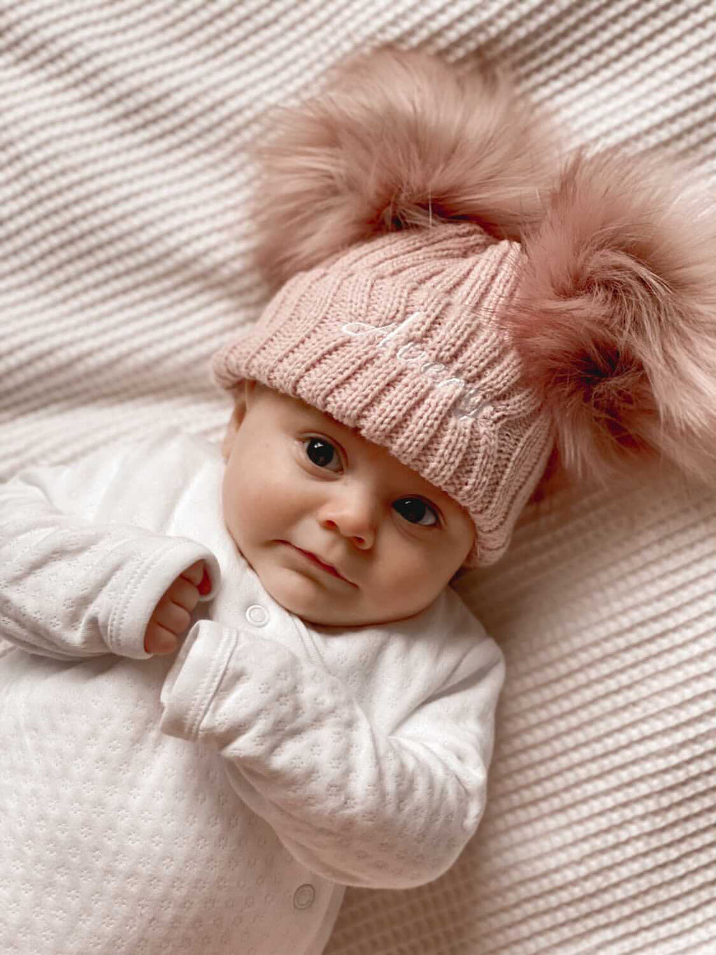 Personalised Name Rose Gold Double Pom Hat