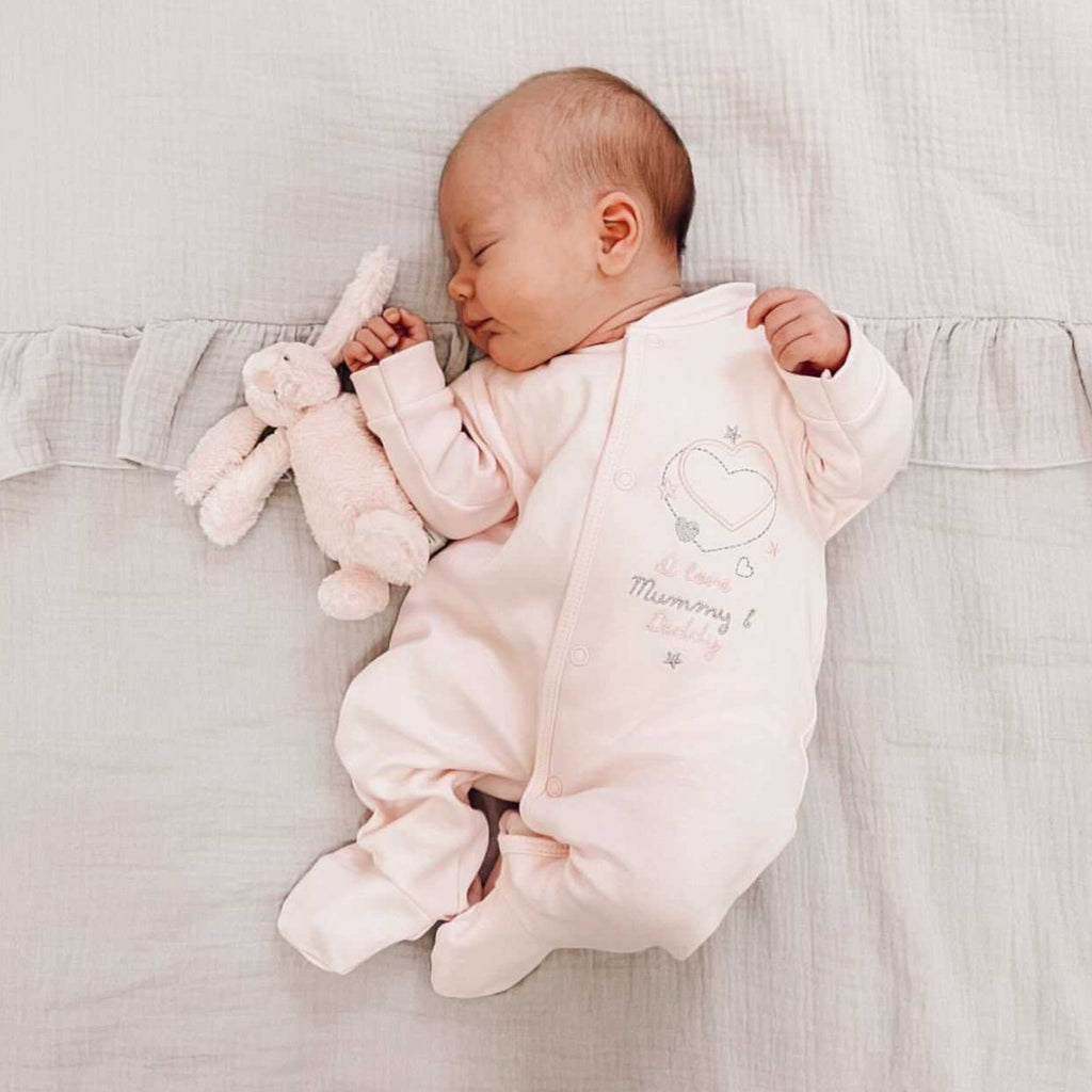 'I Love My Mummy & Daddy' Pink Cotton Sleepsuit