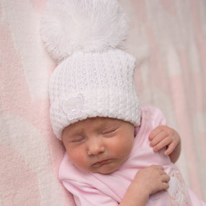 Unisex Knitted Stripe Teddy Hat