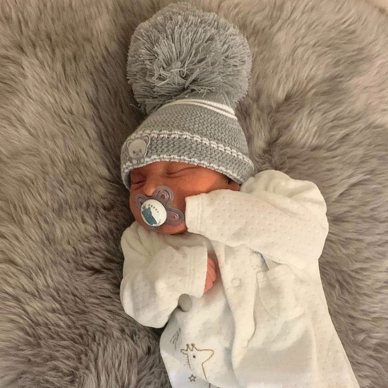 First Size Grey Teddy Embroidered Hat - Grey