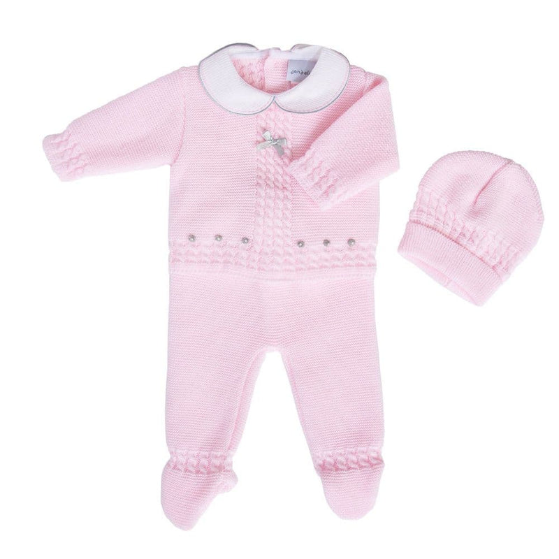 Pink Knitted 3 Piece Set With Hat