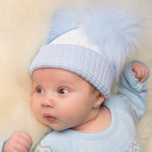 First Size White And Blue Ribbed Fur Double Pom Pom Hat