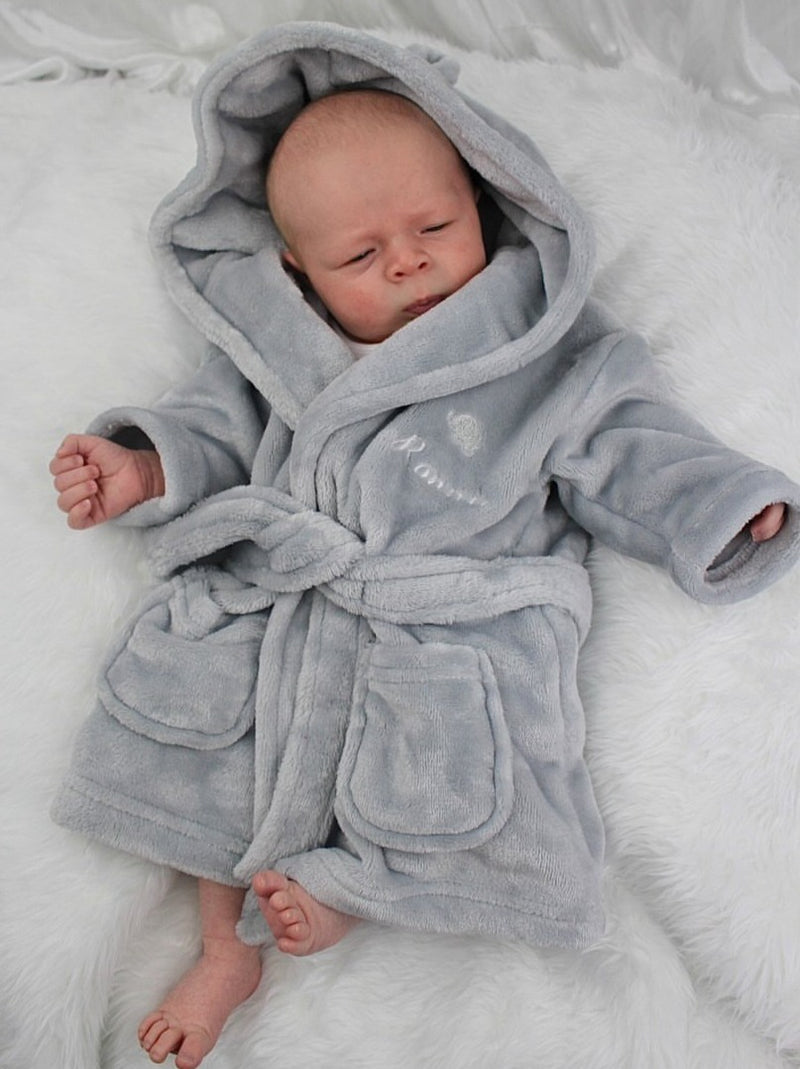 Grey Personalised Embroidered Dressing Gown