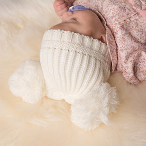 Cream Knitted Double Pom Hat