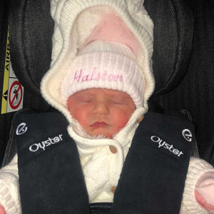 Personalised Name First Size Pink & White Fur Pom Hat