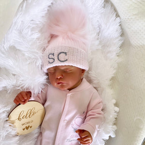 Personalised Initial First Size Pink & Silver Fur Pom Hat