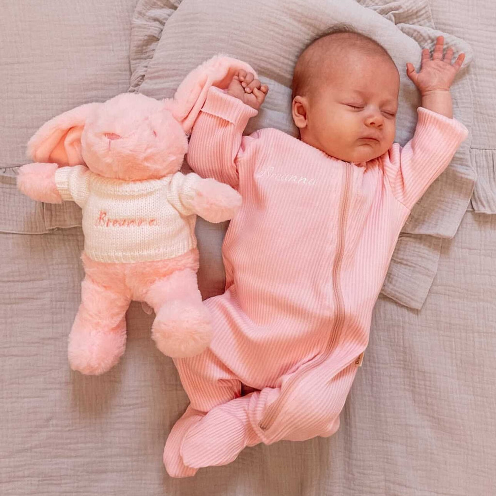 Personalised Pink Ribbed Embroidered Sleepsuit