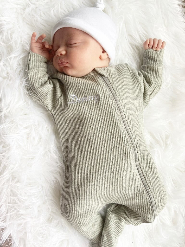 Personalised Grey Ribbed Embroidered Sleepsuit