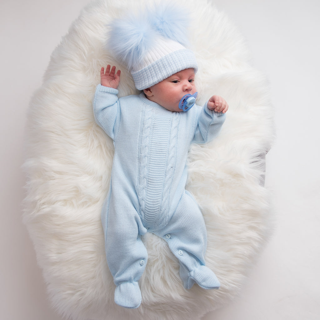 Blue Cable Knitted Onesie