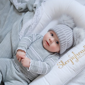 Grey & White Pointelle Knitted Set