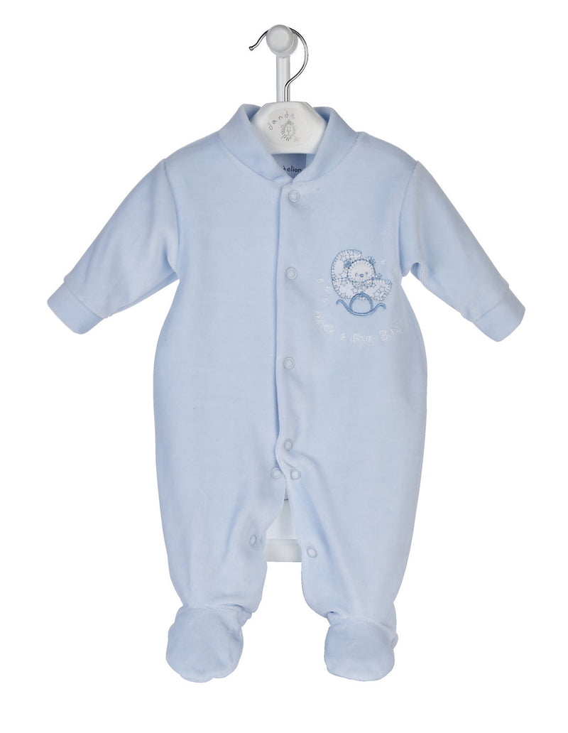 Blue 'Rock-a-bye Baby' Velour Sleepsuit