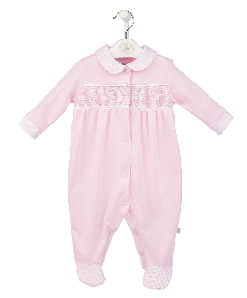 Bunny Smocked Cotton Sleepsuit