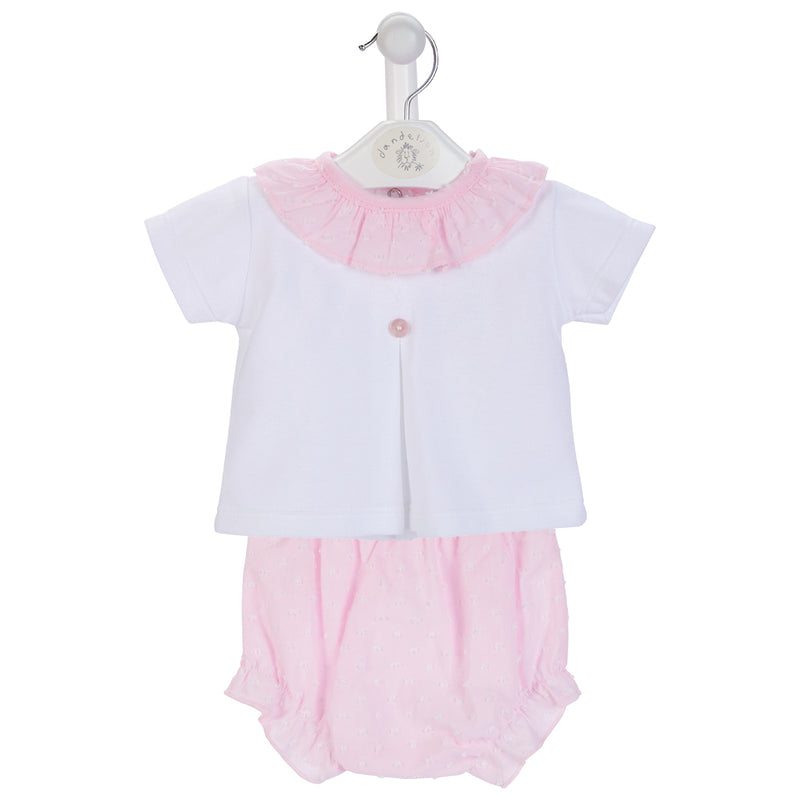 Girls Cotton Ruffle Collar Top & Bloomer