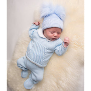 Boys Blue & Grey Cable Knit Set