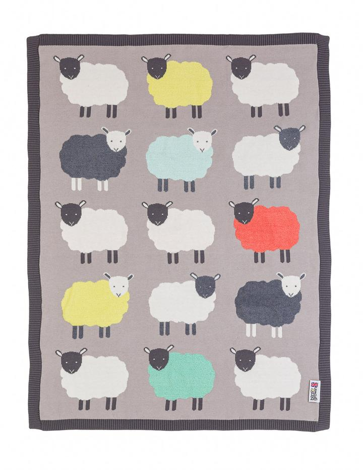 Sheep 'The Flock' Knitted Blanket