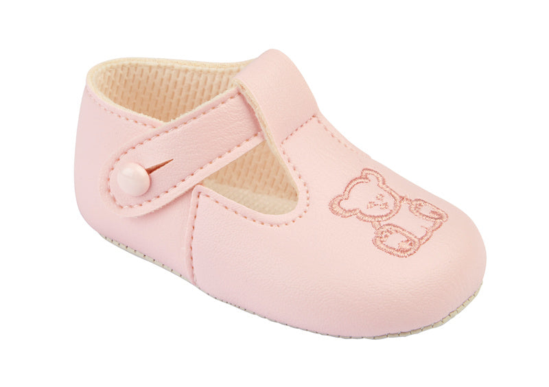 Pink Soft Sole Shoes With Embroidered Bear