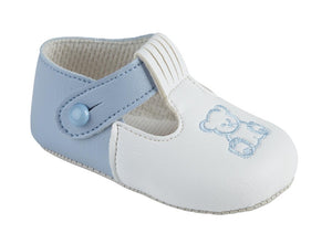 Soft Sole Sky Shoes With Blue Embroidered Teddy