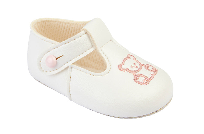 Soft Sole Shoe With Embroidered Teddy
