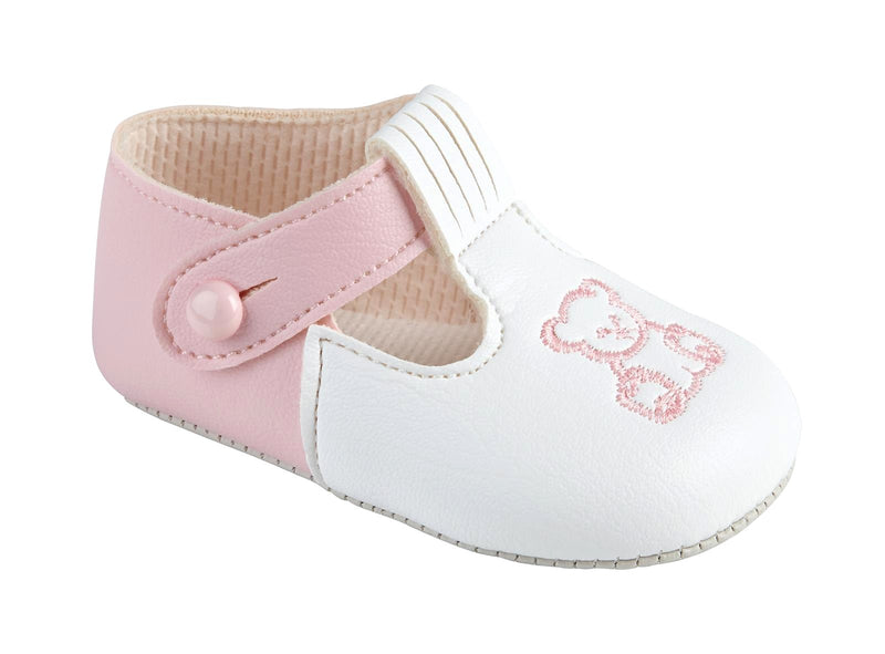 Girls Soft Sole Shoe With Embroidered Teddy - Pink/White