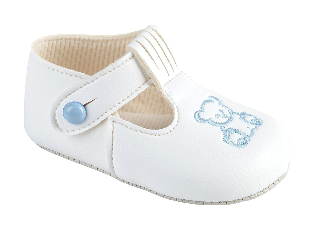 Soft Sole Shoes With Blue Emroidered Teddy