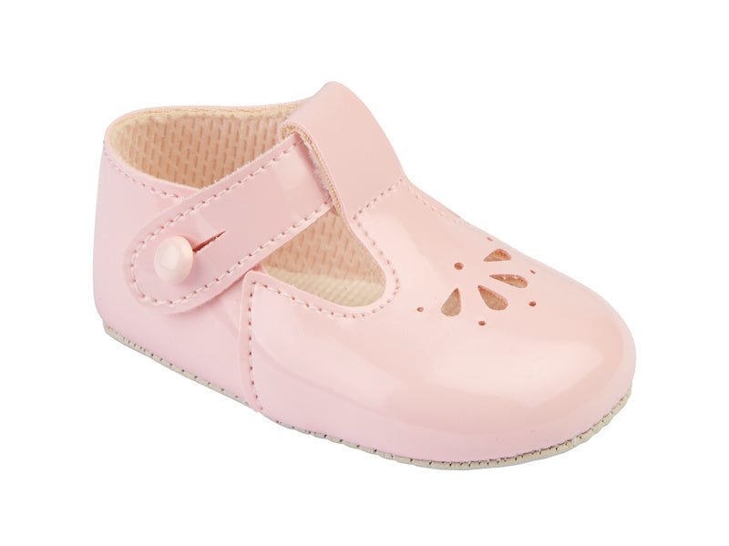 Girls Pink Soft Sole Fan T Bar Shoes