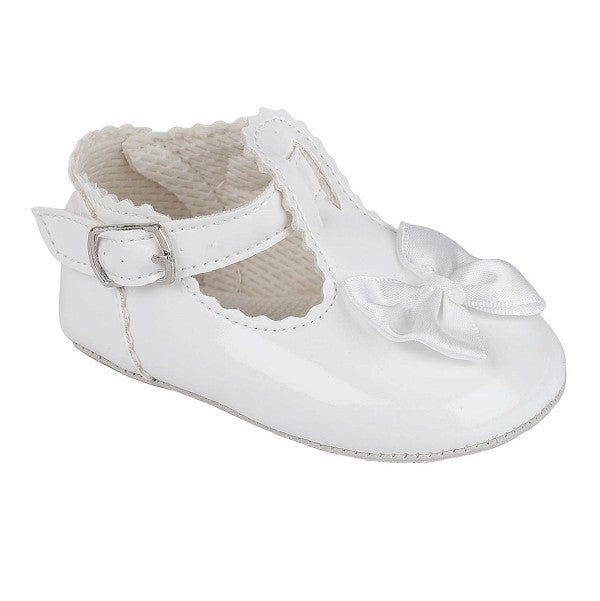 Girls White Bow Buckled T - Bar Shoe With Bow