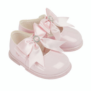 Pink Bow & Diamante Hard Soled Shoes