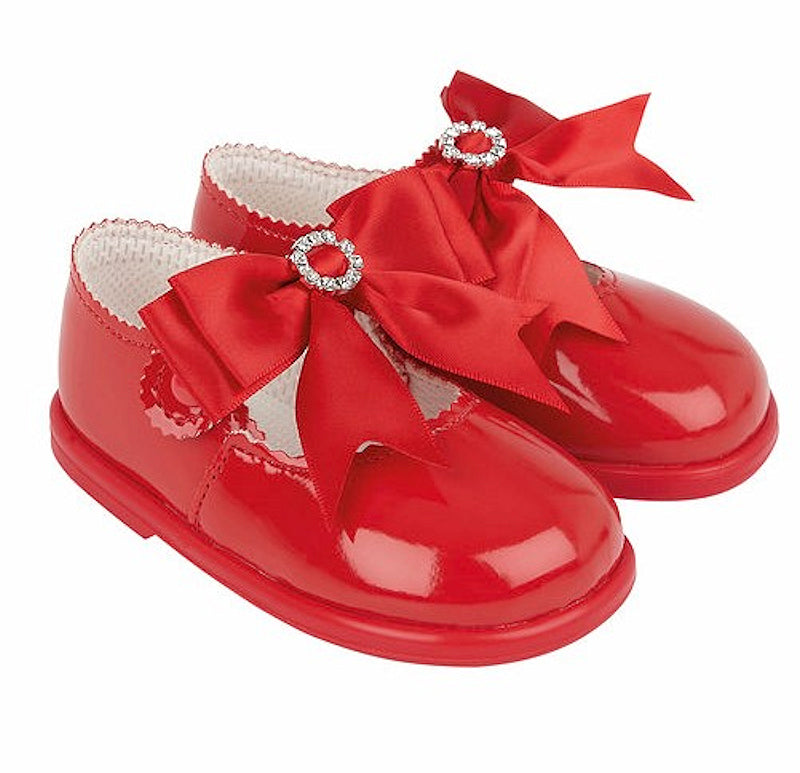Red Bow & Diamante Hard Soled Shoes