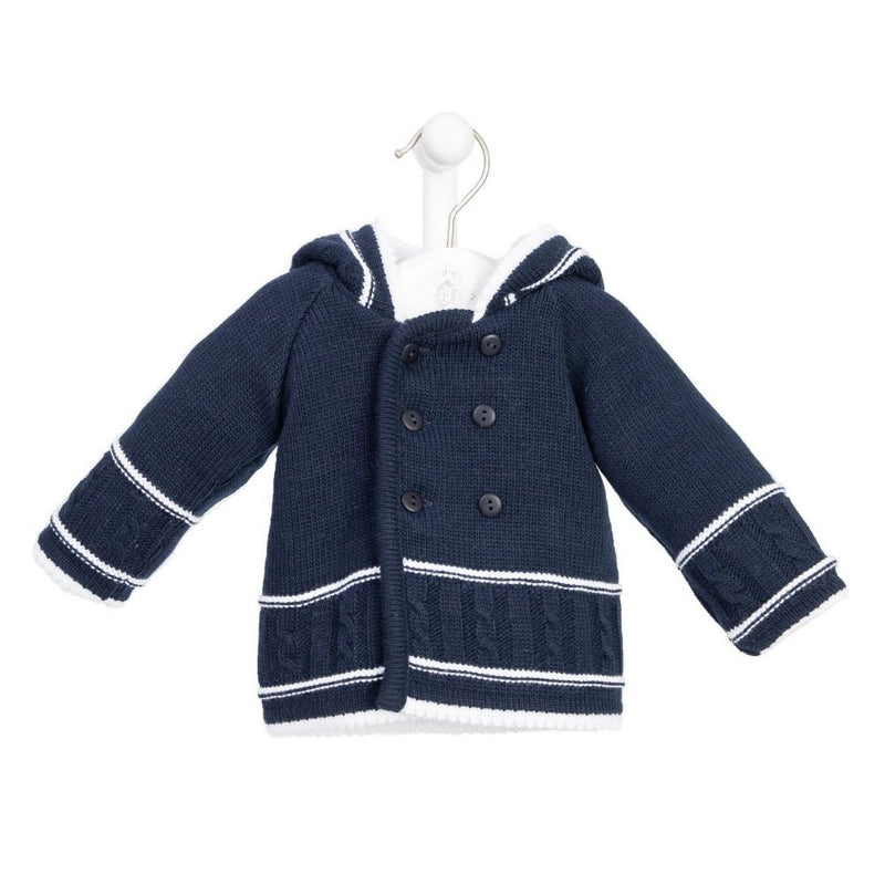 Navy & White Knitted Jacket