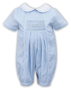 Smocked Panel Blue Piped Romper