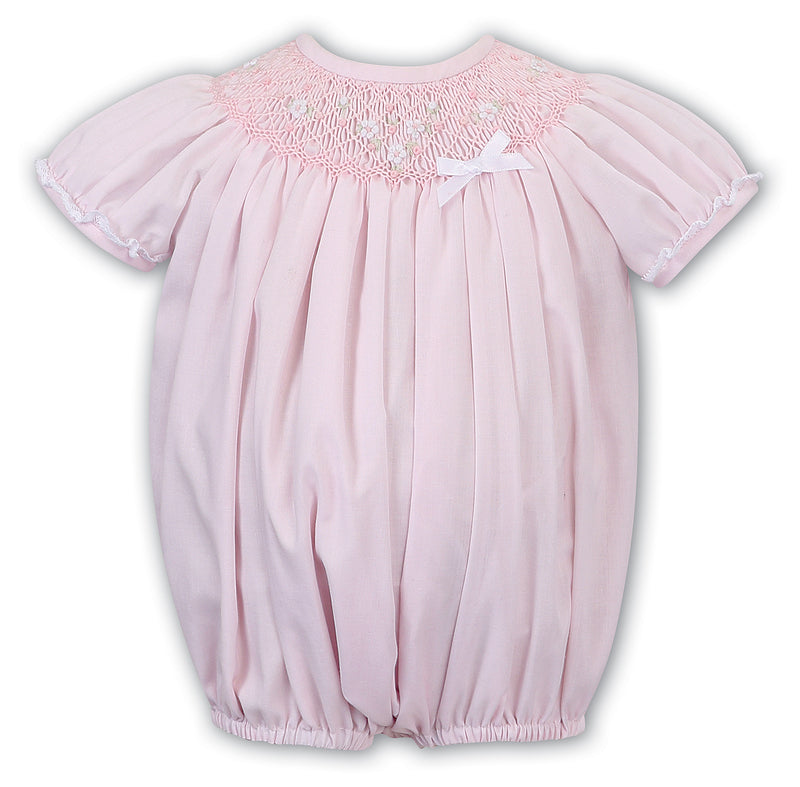 Pink Smocked Flower Bubble Romper