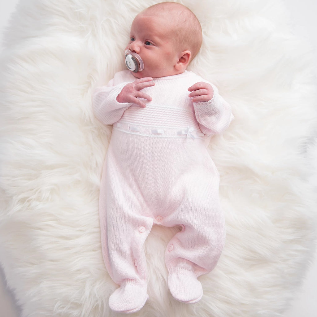 Pink Lace & Bow Knitted Onesie