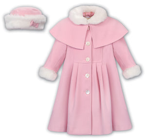 Pink Fur Collar Coat & Hat