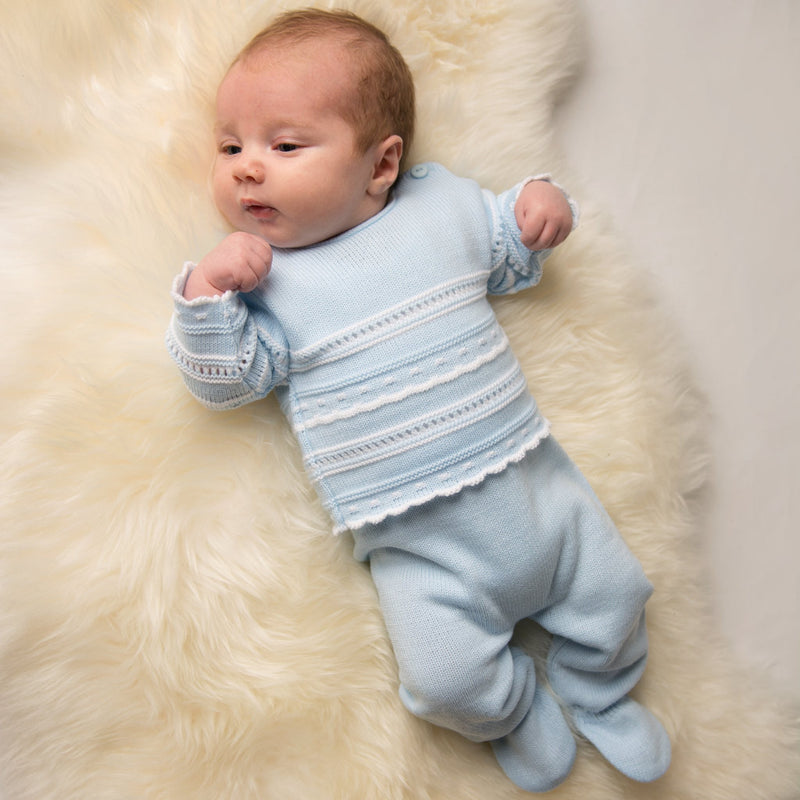 Boys Blue & White Knitted Two Piece Set