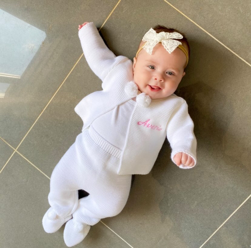 Personalised White Knitted Pom Outfit