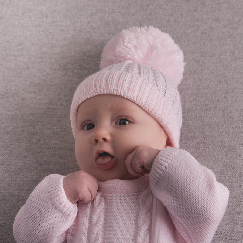 First Size Pink Cable Pom Hat