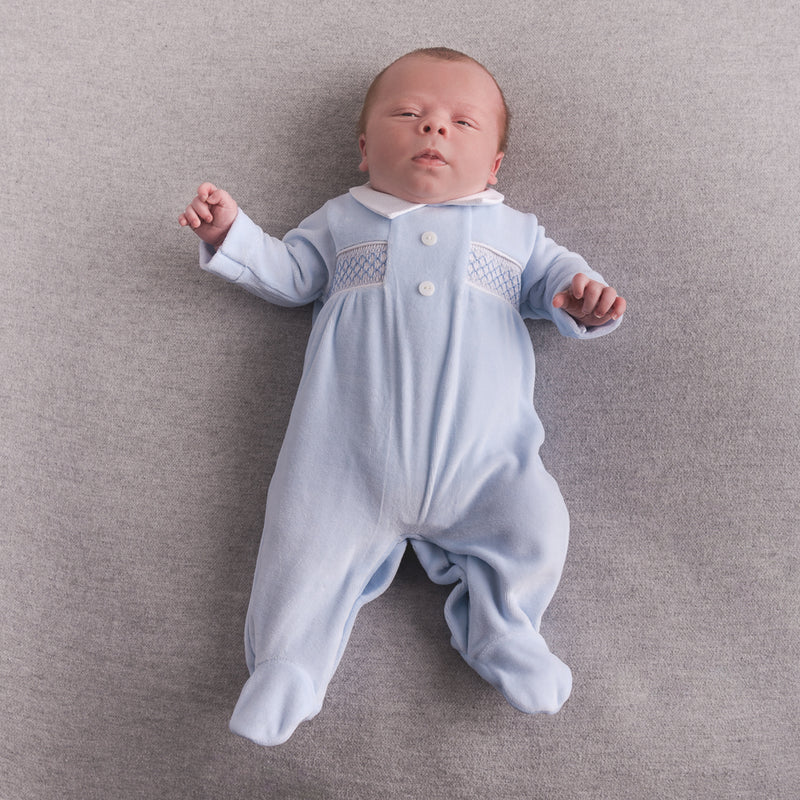 Blue Button Smocked Velour Sleepsuit