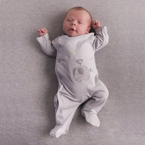'Elephant & Bird' Grey Unisex Cotton Sleepsuit