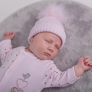 First Size Pink & White Ribbed Fur Pom Hat
